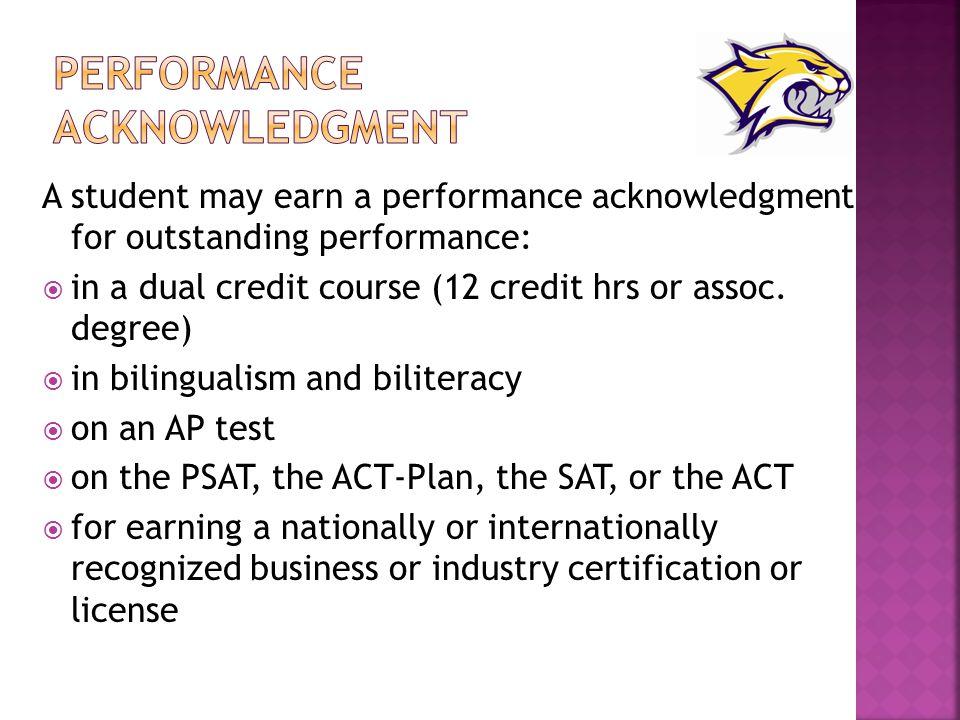Performance Acknowledgment