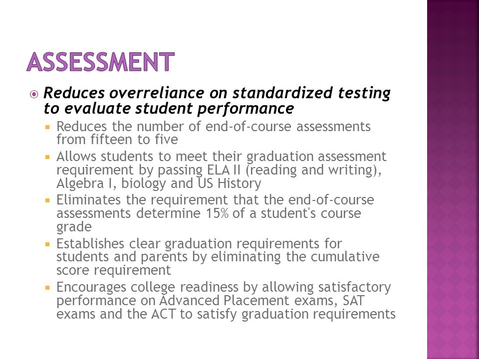 Assessment Reduces overreliance on standardized testing to evaluate student performance.