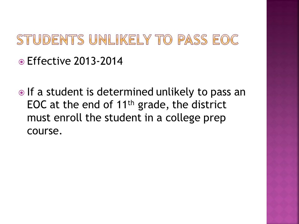 Students UNLIKELY TO PASS EOC