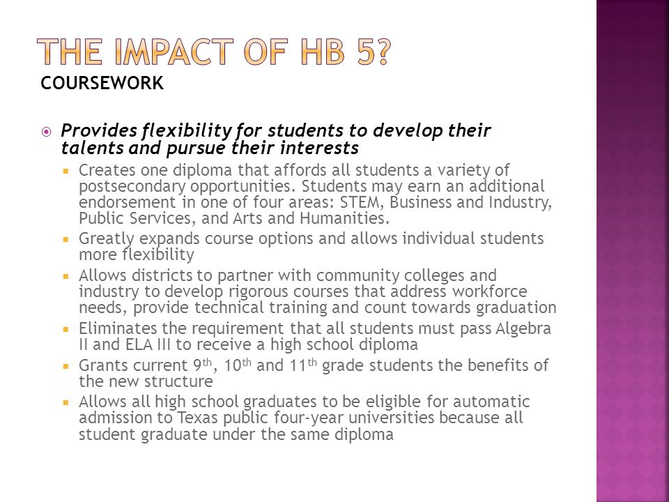 The impact of HB 5 COURSEWORK