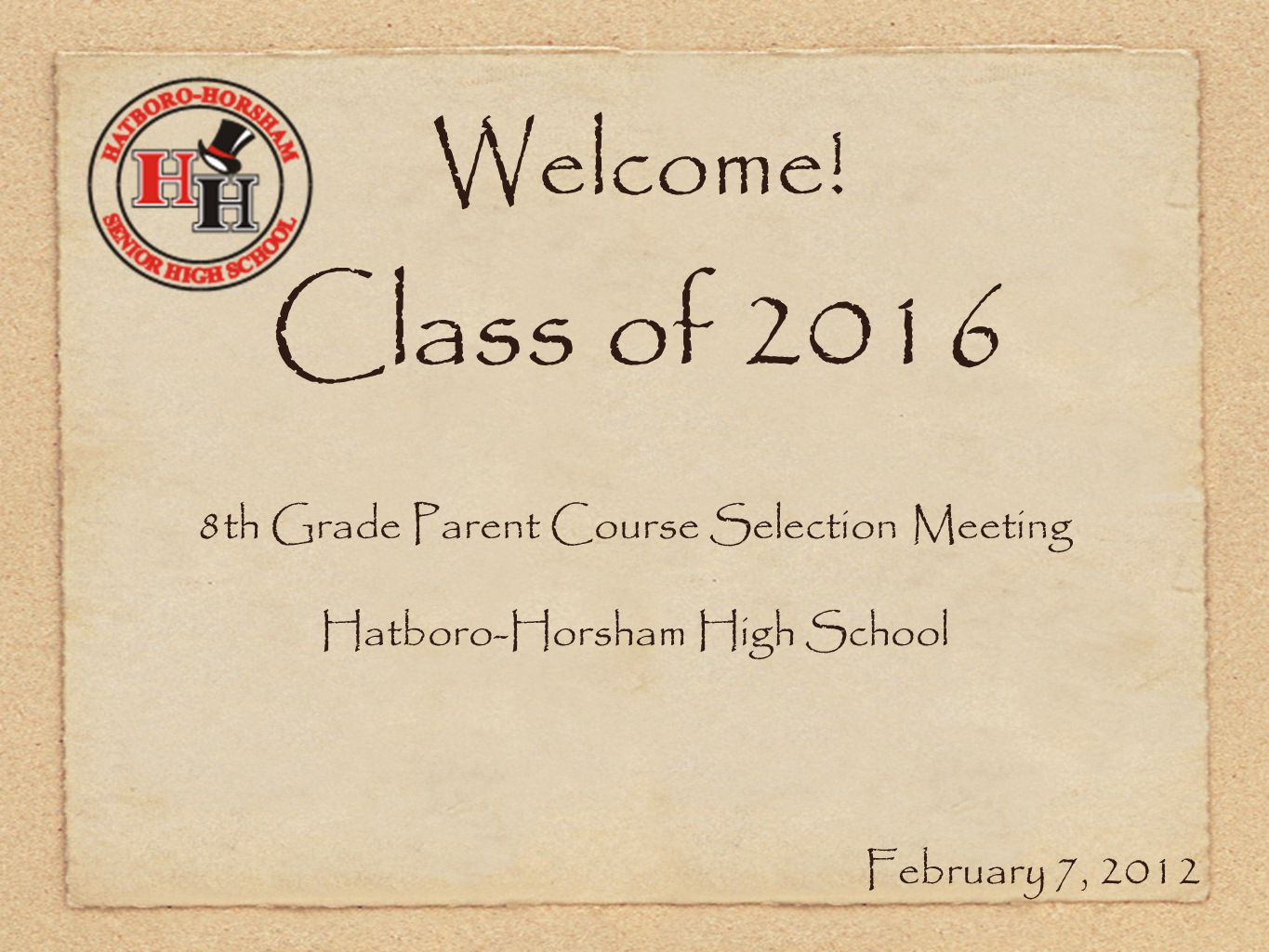Welcome! Class of 2016 8th Grade Parent Course Selection Meeting