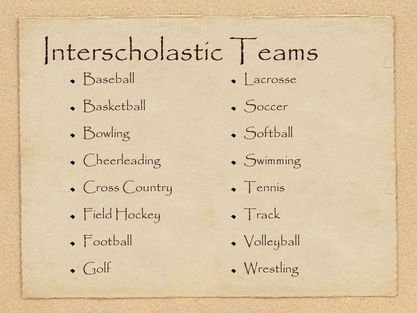 Interscholastic Teams