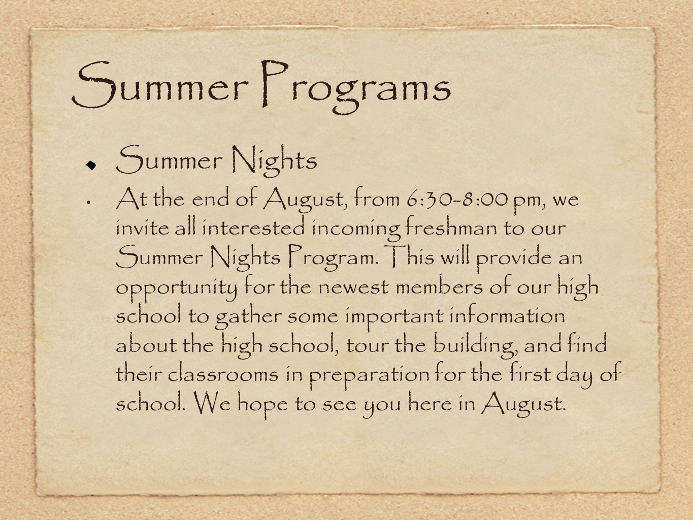 Summer Programs Summer Nights