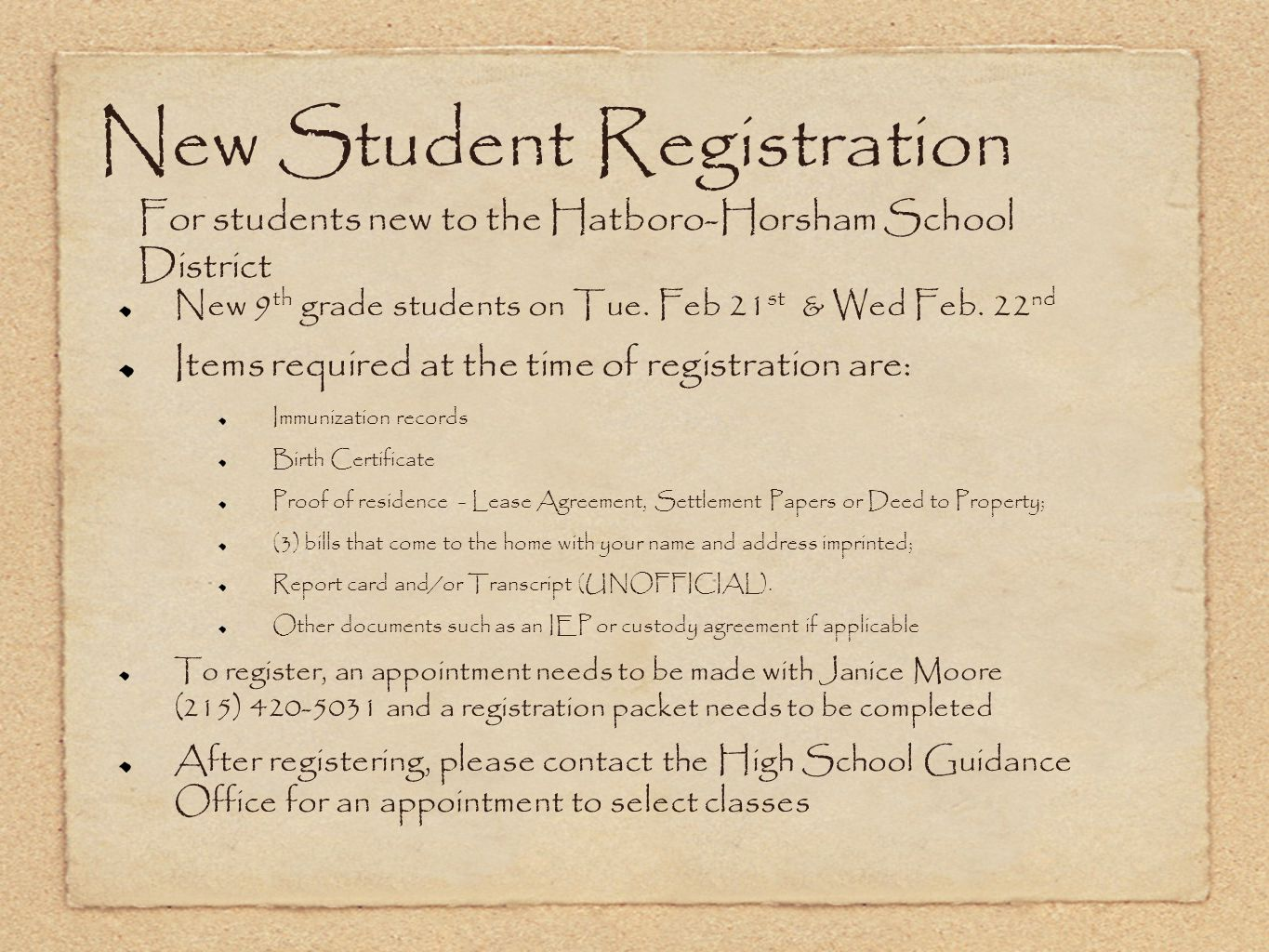 New Student Registration For students new to the Hatboro-Horsham School District