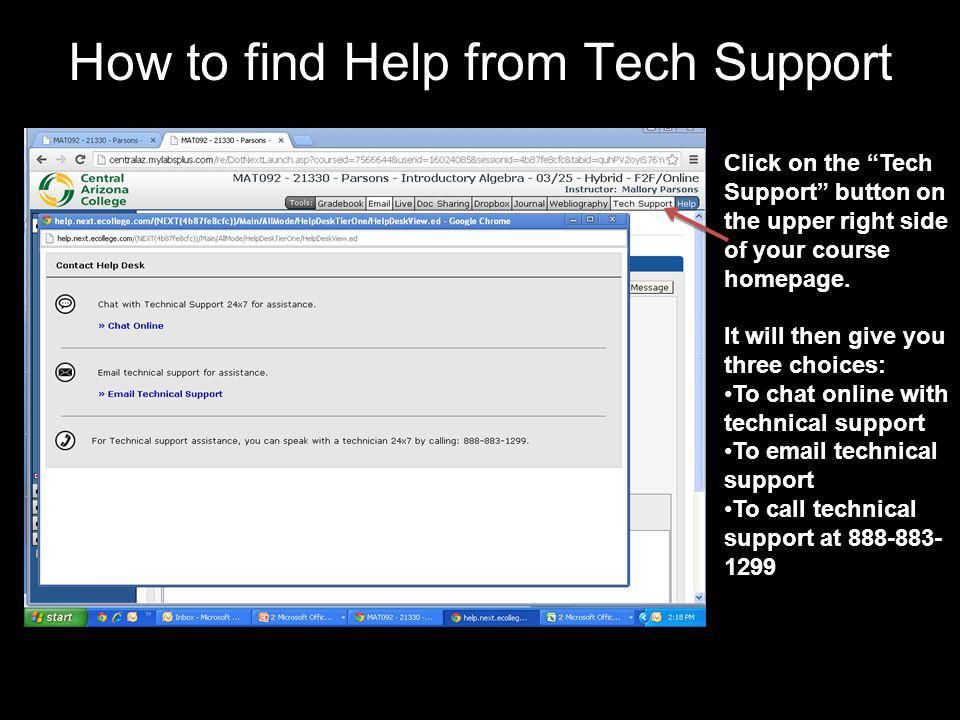 How to find Help from Tech Support