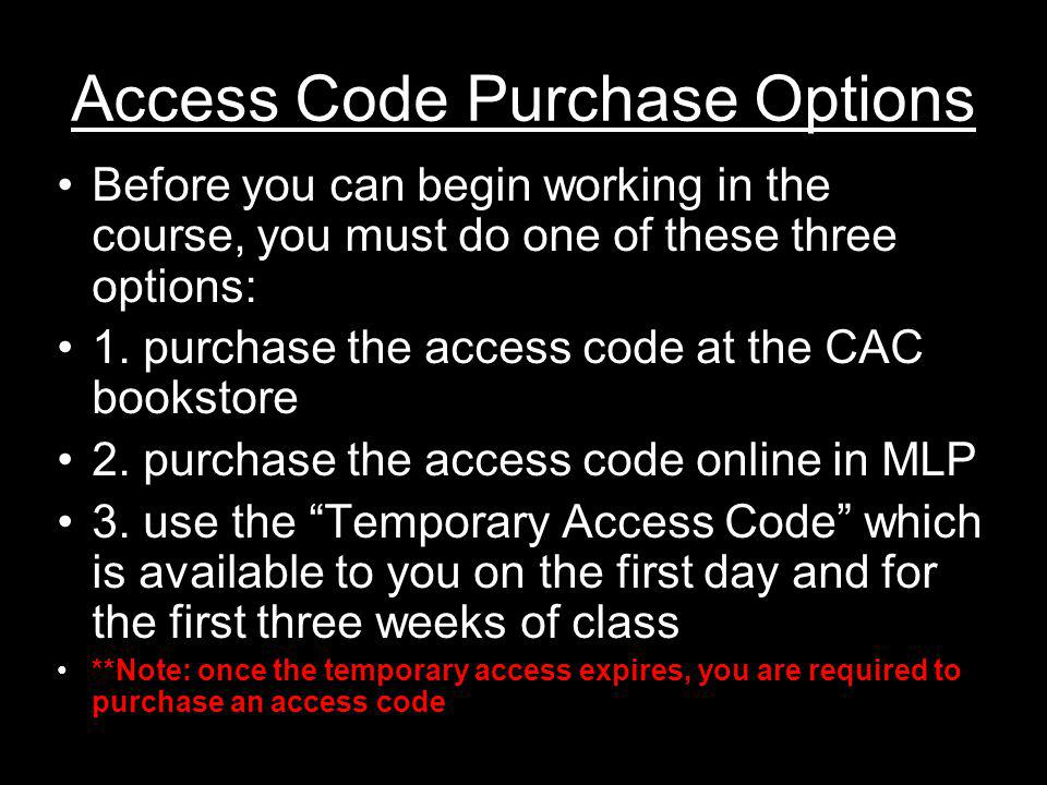 Access Code Purchase Options