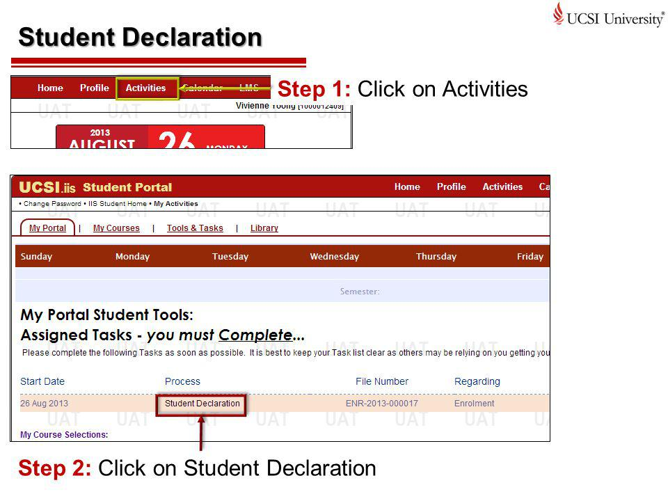 Student Declaration Step 1: Click on Activities
