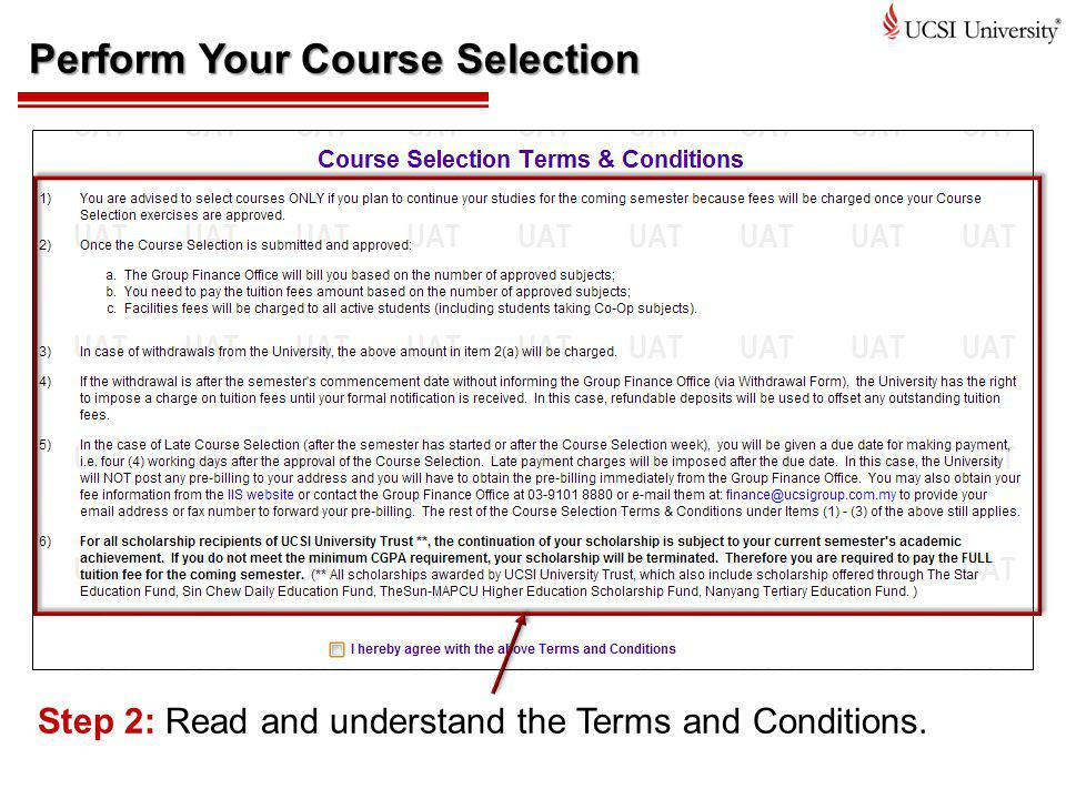 Perform Your Course Selection