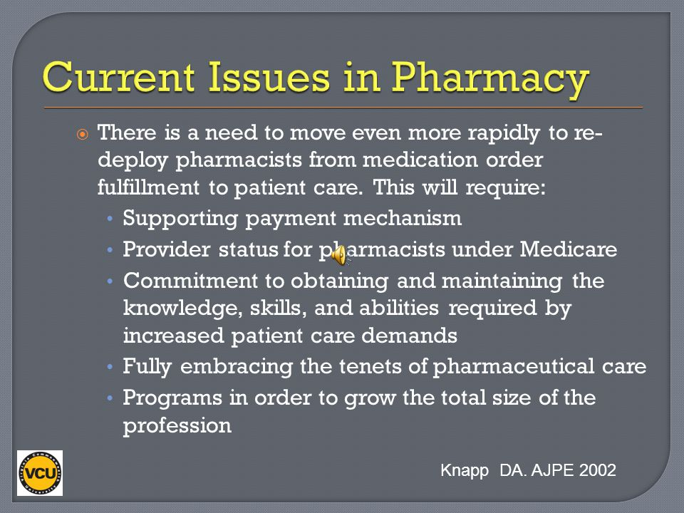Current Issues in Pharmacy
