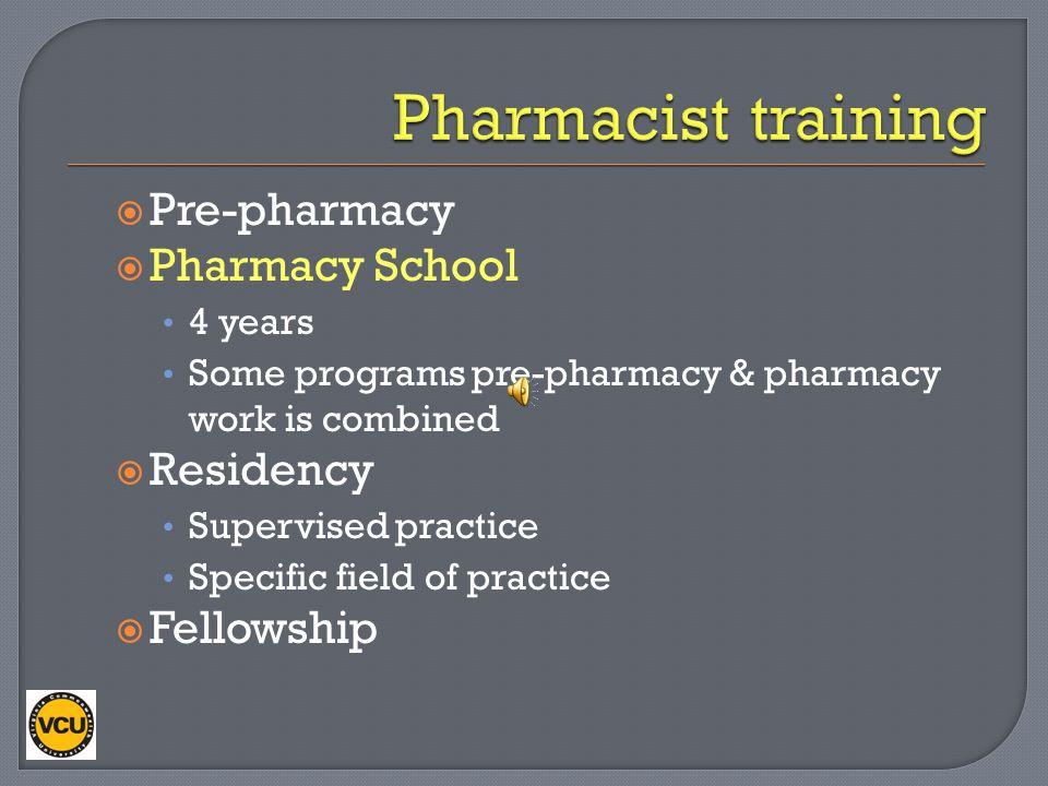 Pharmacist training Pre-pharmacy Pharmacy School Residency Fellowship