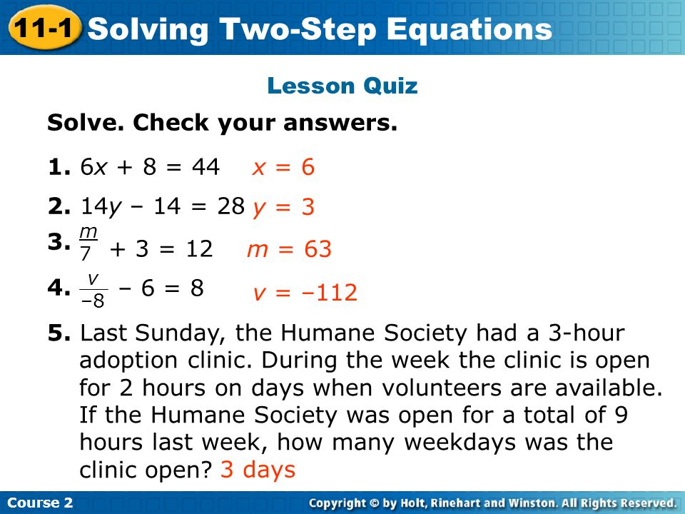 Solving Two-Step Equations Insert Lesson Title Here