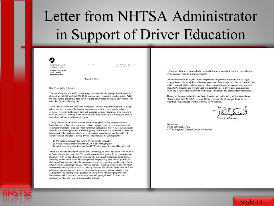 Letter from NHTSA Administrator in Support of Driver Education