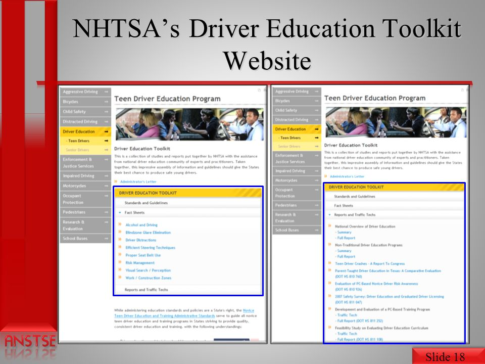 NHTSA's Driver Education Toolkit Website