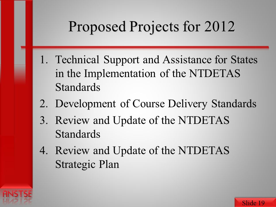Proposed Projects for 2012 Technical Support and Assistance for States in the Implementation of the NTDETAS Standards.
