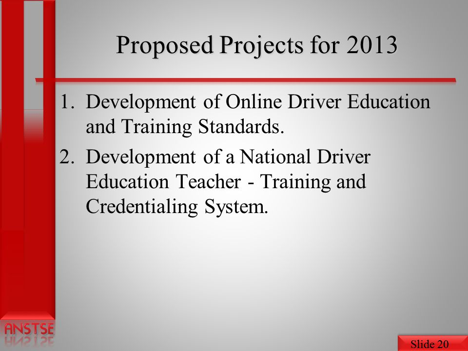 Proposed Projects for 2013 Development of Online Driver Education and Training Standards.