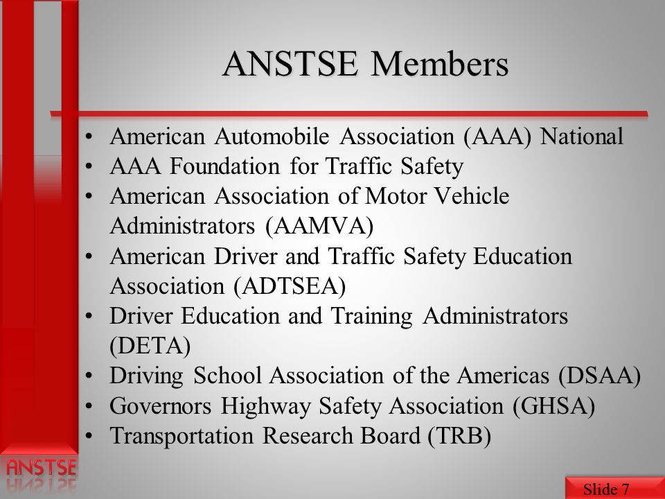 ANSTSE Members American Automobile Association (AAA) National