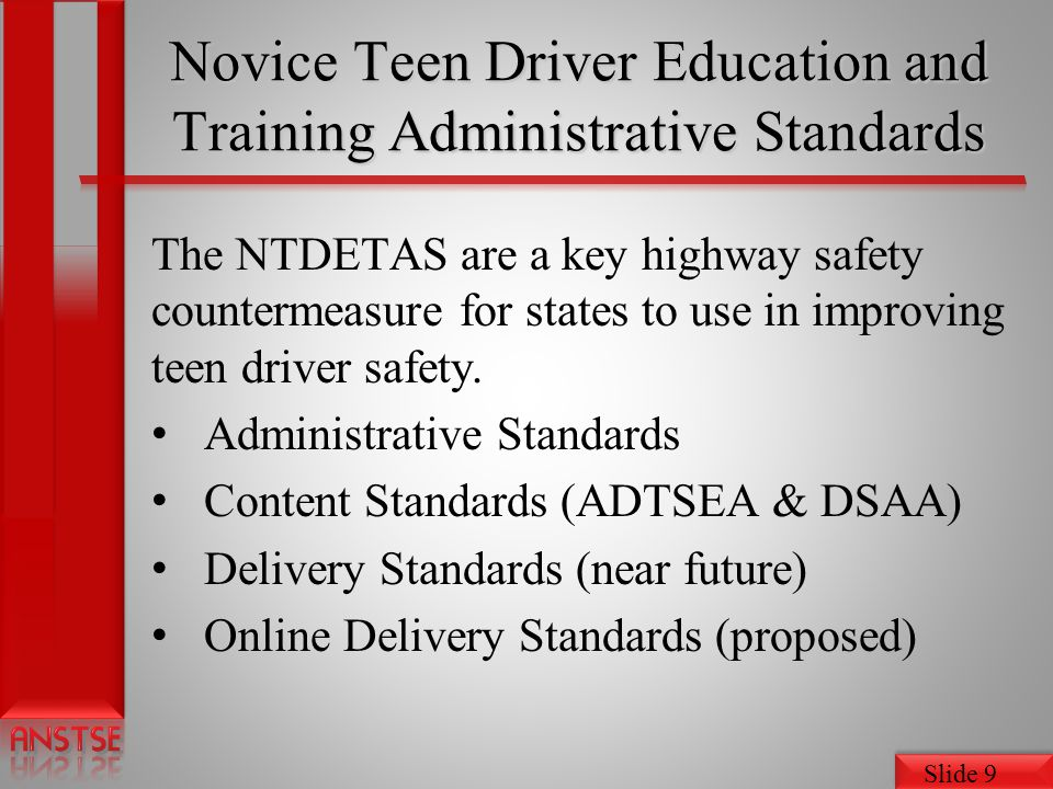 Novice Teen Driver Education and Training Administrative Standards