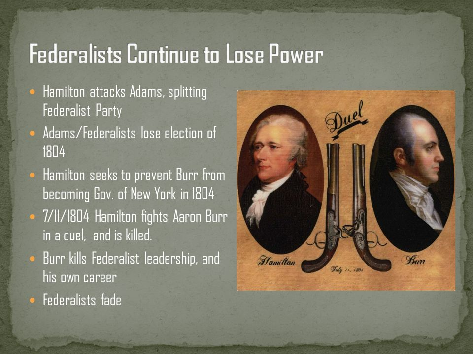 Federalists Continue to Lose Power