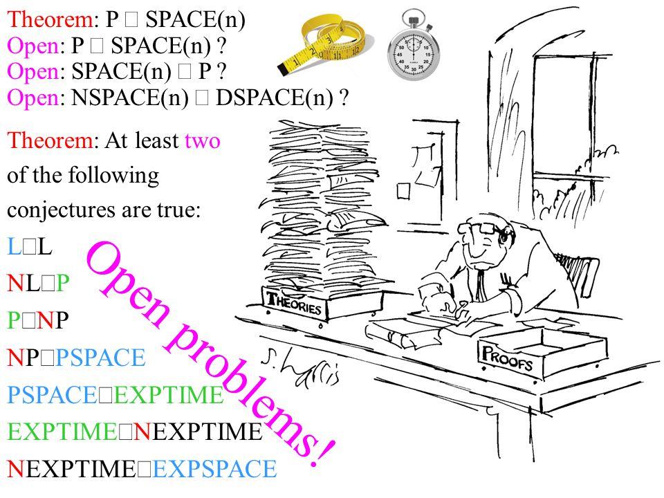 Open problems! L¹L NL¹P P¹NP NP¹PSPACE PSPACE¹EXPTIME EXPTIME¹NEXPTIME