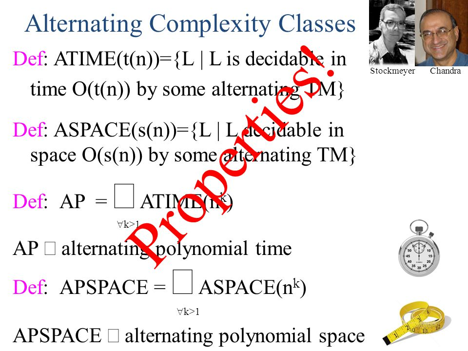 Properties! Alternating Complexity Classes
