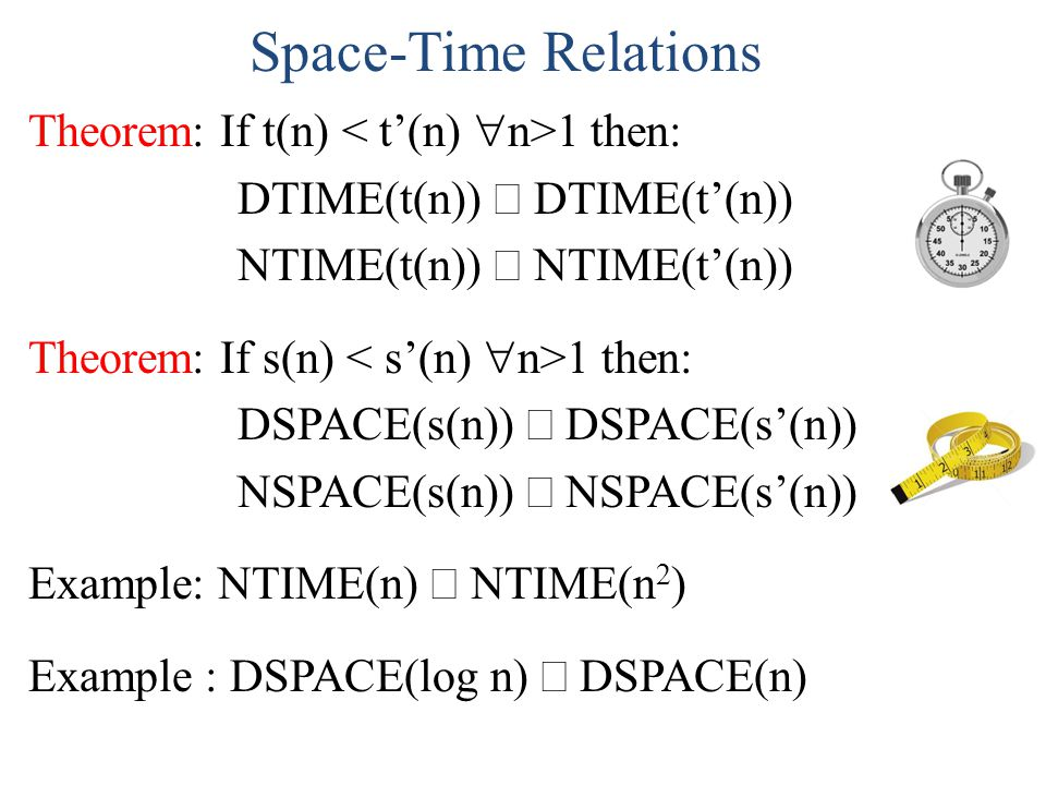 Space-Time Relations Theorem: If t(n) < t'(n) n>1 then: