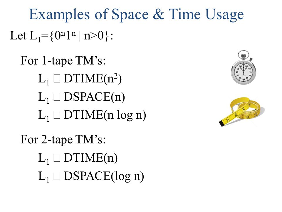 Examples of Space & Time Usage