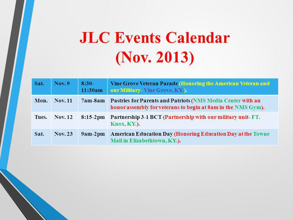 JLC Events Calendar (Nov. 2013)