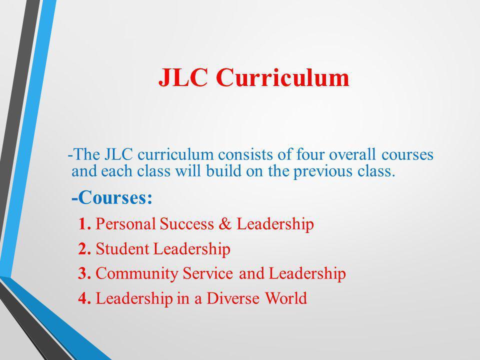 JLC Curriculum -Courses: 1. Personal Success & Leadership