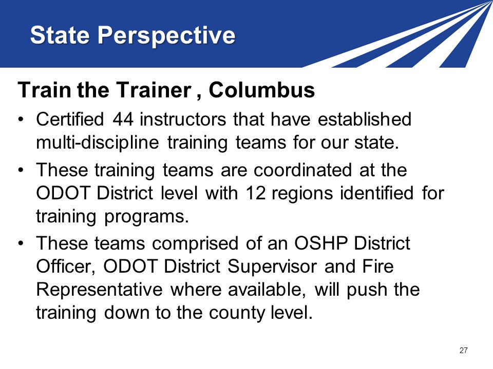 State Perspective Train the Trainer , Columbus