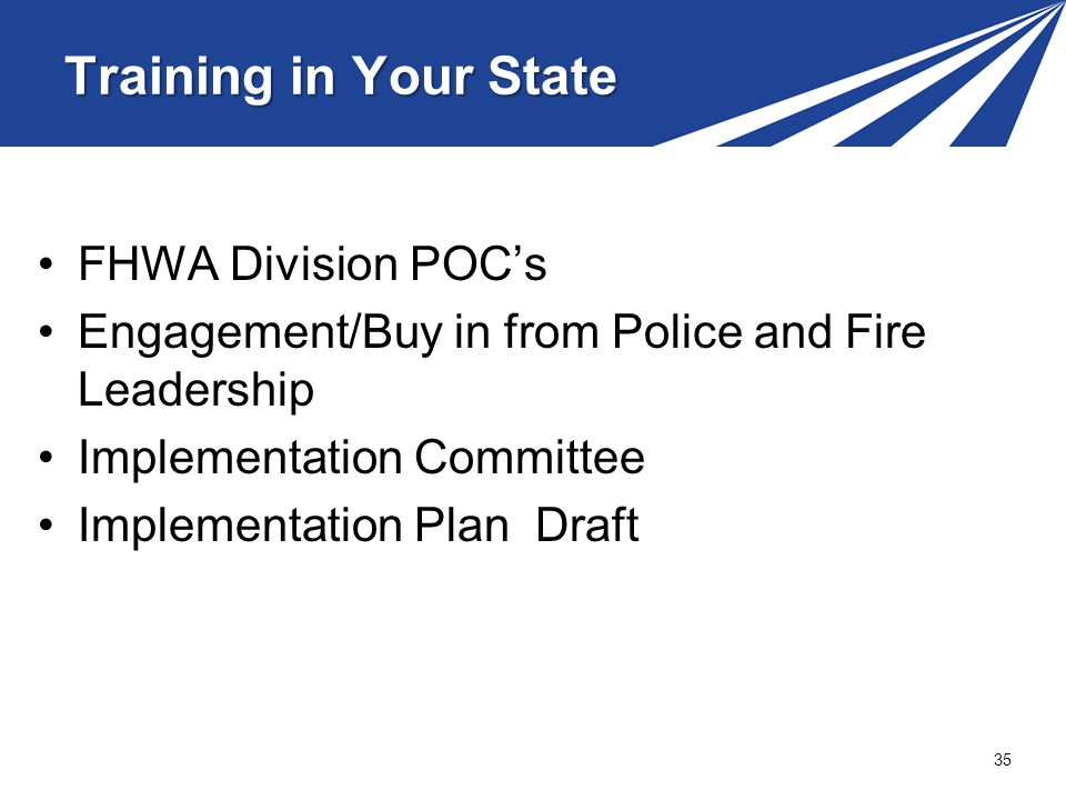 Training in Your State FHWA Division POC's