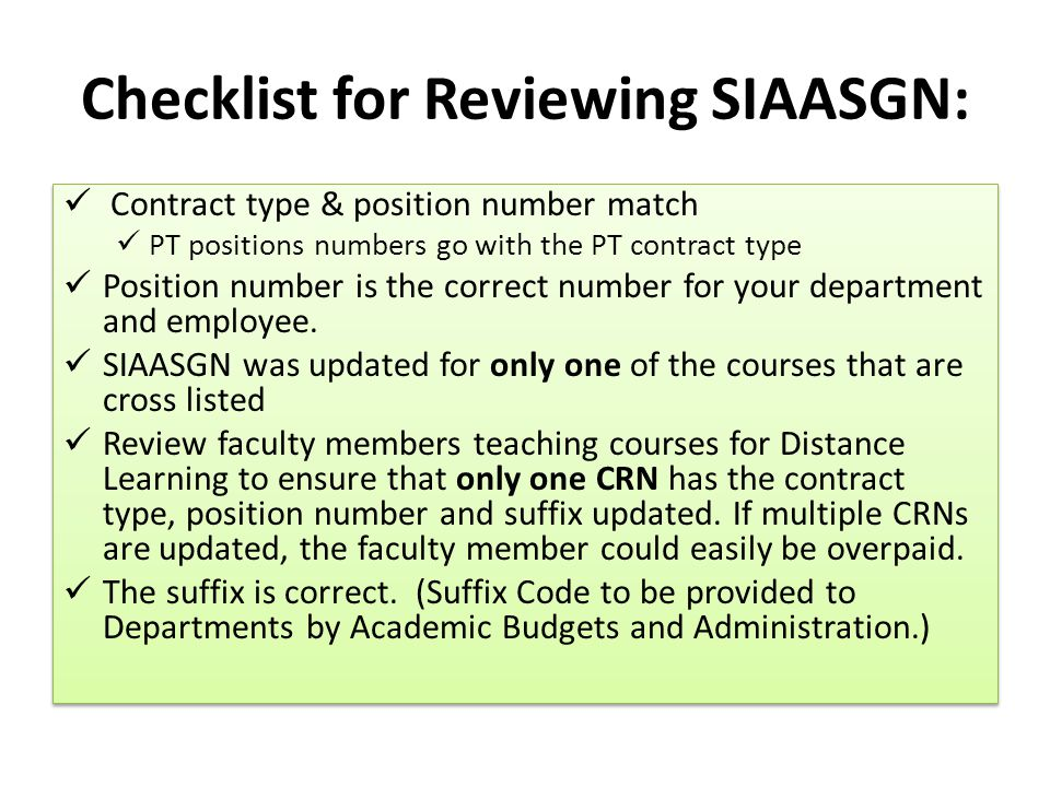 Checklist for Reviewing SIAASGN: