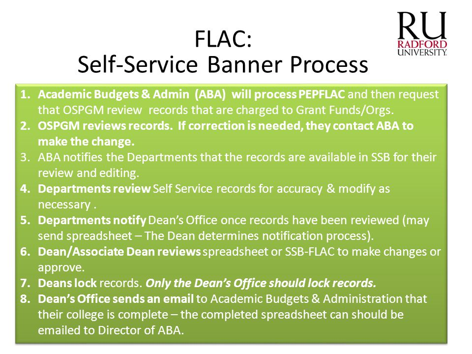 FLAC: Self-Service Banner Process