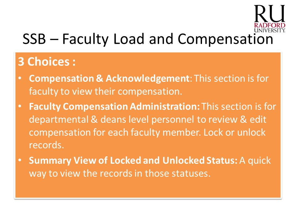 SSB – Faculty Load and Compensation