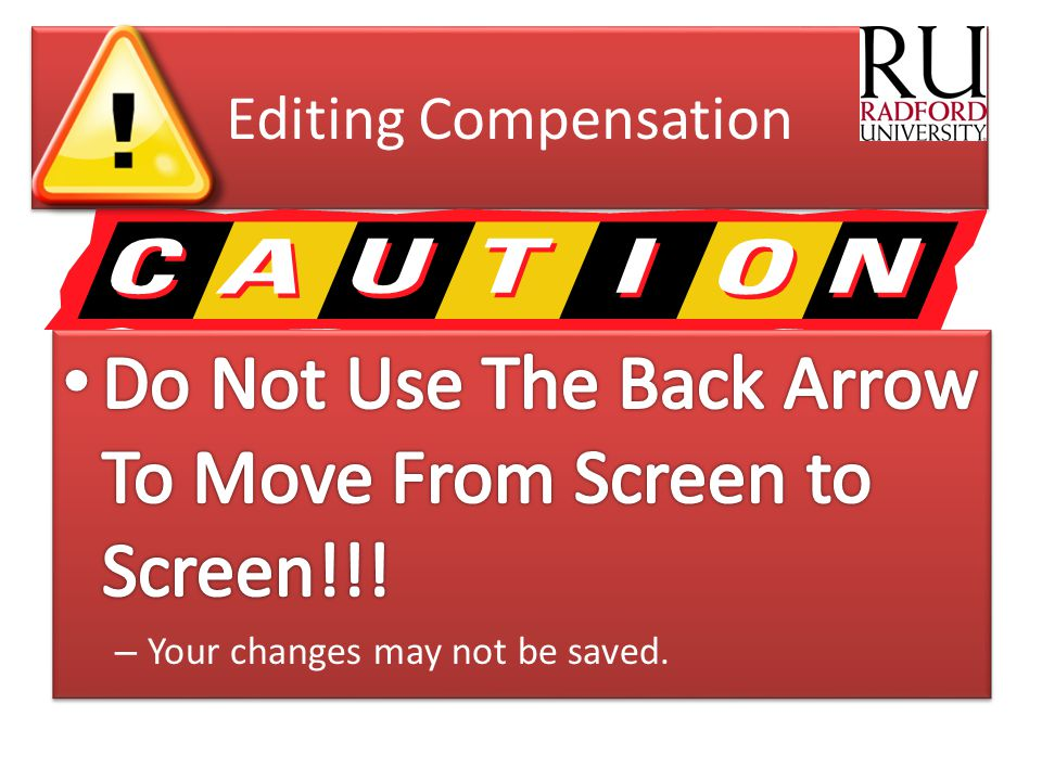 Do Not Use The Back Arrow To Move From Screen to Screen!!!