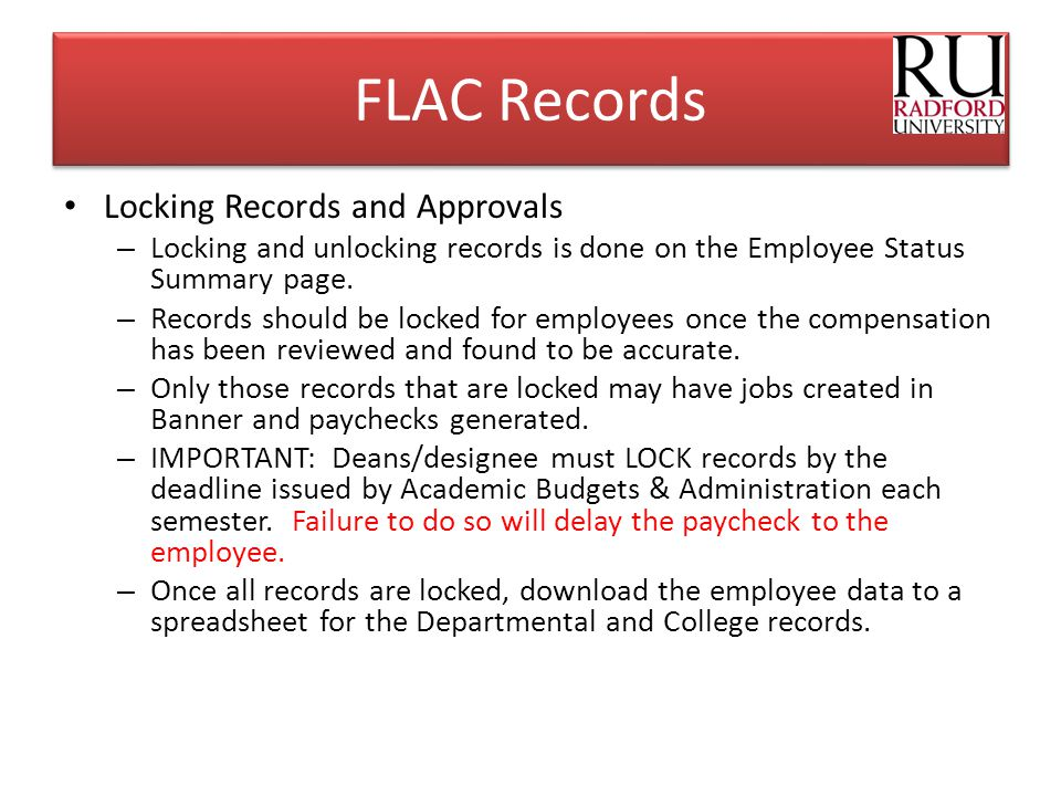 FLAC Records Locking Records and Approvals