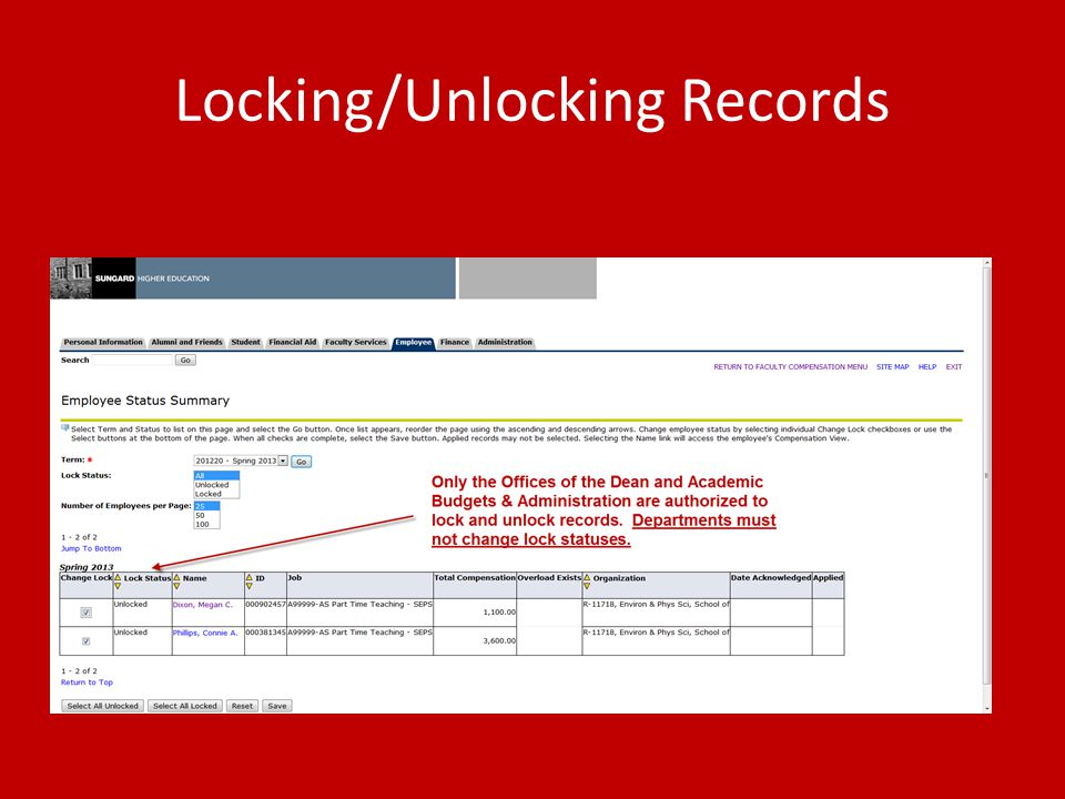Locking/Unlocking Records