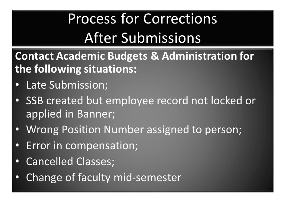 Process for Corrections After Submissions