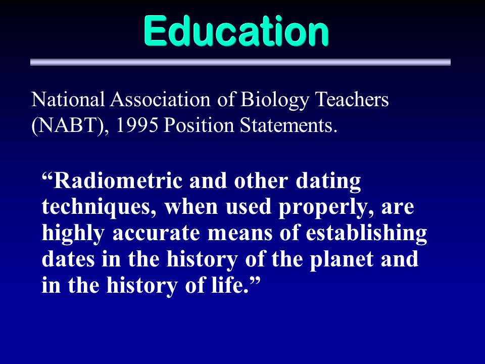Education National Association of Biology Teachers (NABT), 1995 Position Statements.