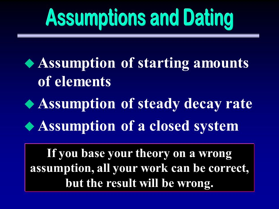 dating assumptions The age of the earth is normally estimated by radiometric dating - which gives an 'old earth' what are the assumptions and weaknesses of this method is 'young earth' theory poor science.