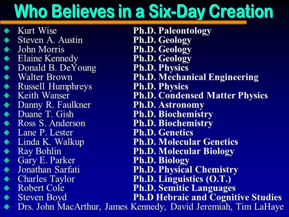 Who Believes in a Six-Day Creation