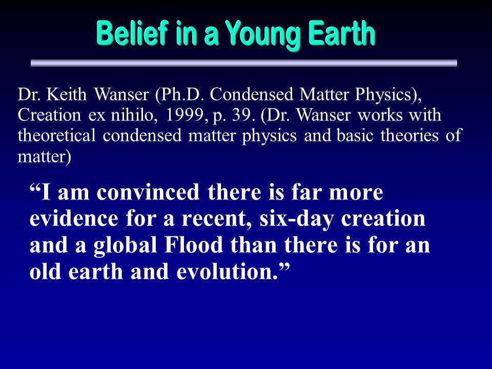Belief in a Young Earth