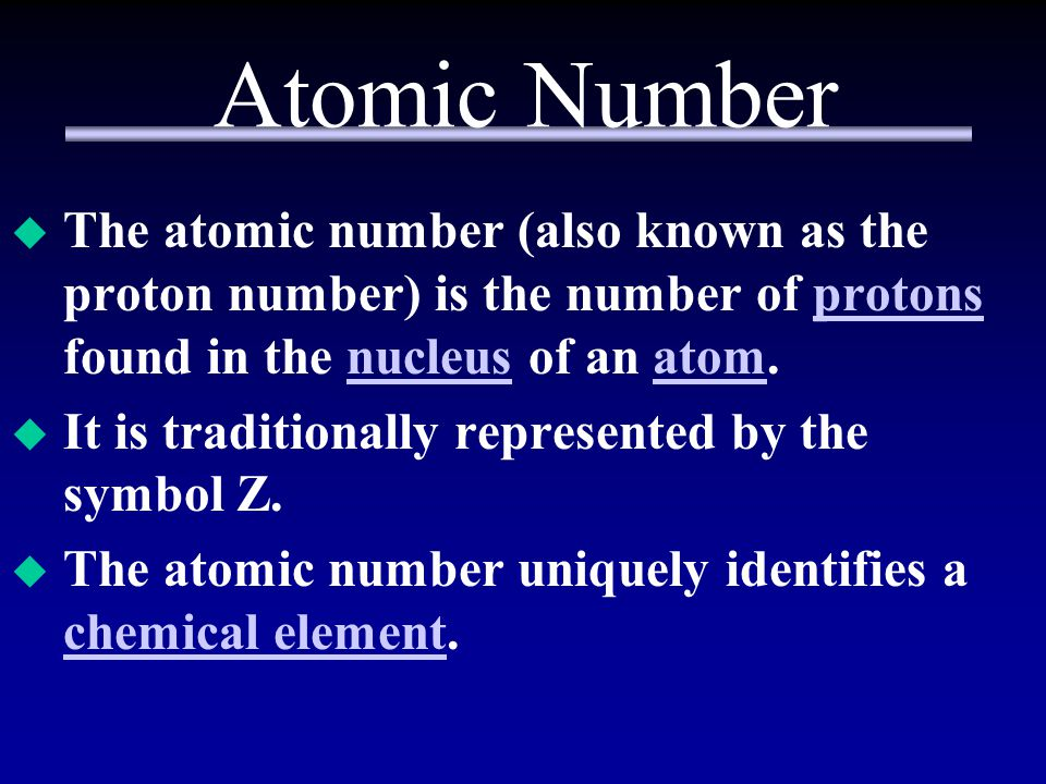 Atomic Number The atomic number (also known as the proton number) is the number of protons found in the nucleus of an atom.