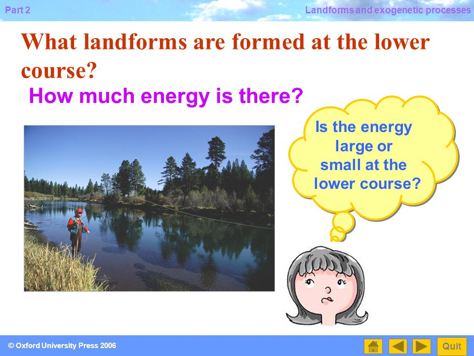 Is the energy large or small at the lower course