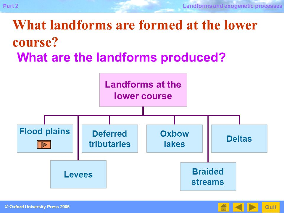 Landforms at the lower course