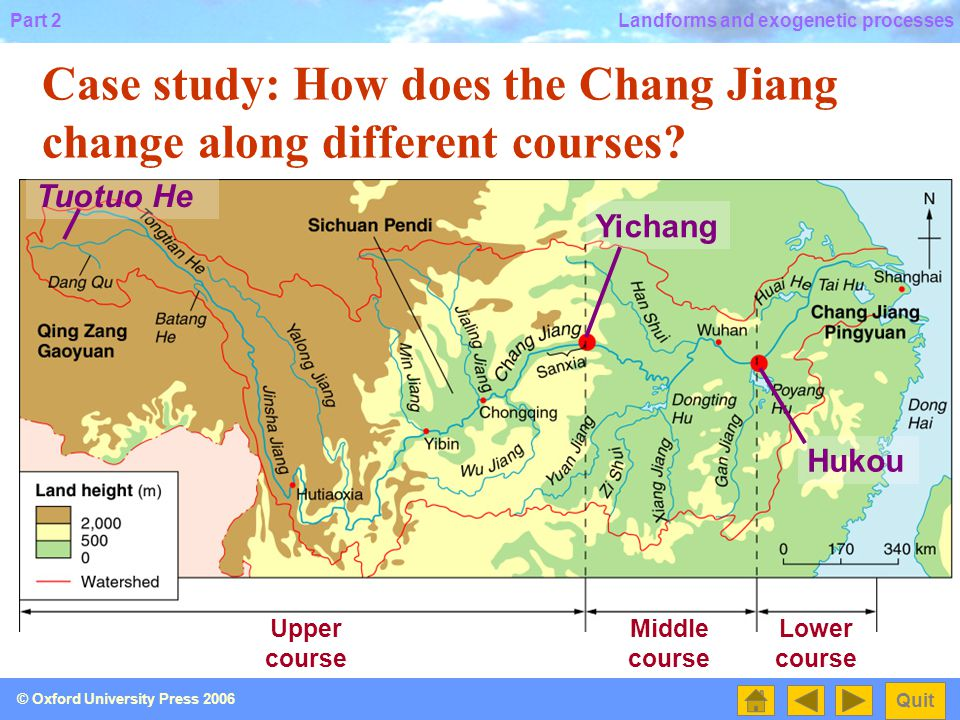 Case study: How does the Chang Jiang change along different courses