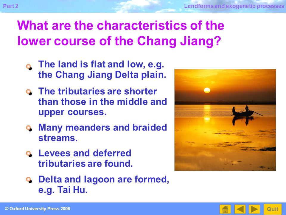What are the characteristics of the lower course of the Chang Jiang