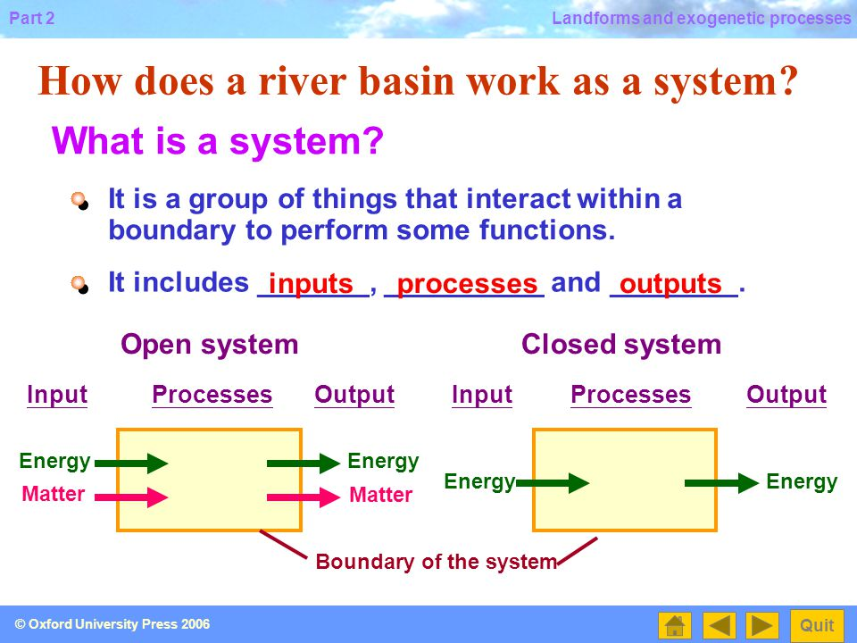 How does a river basin work as a system