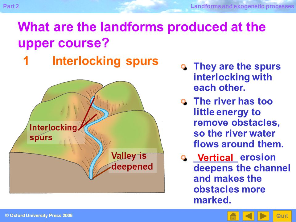 What are the landforms produced at the upper course
