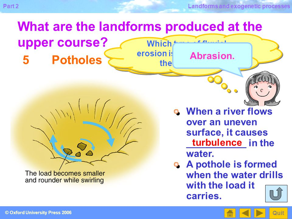 Which type of fluvial erosion is involved within the potholes