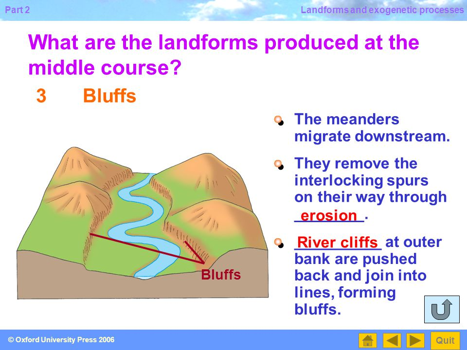 What are the landforms produced at the middle course